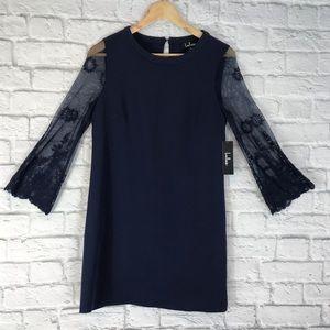 Lulu's Navy Sheath Lace Sleeve NWT Dress Sz M